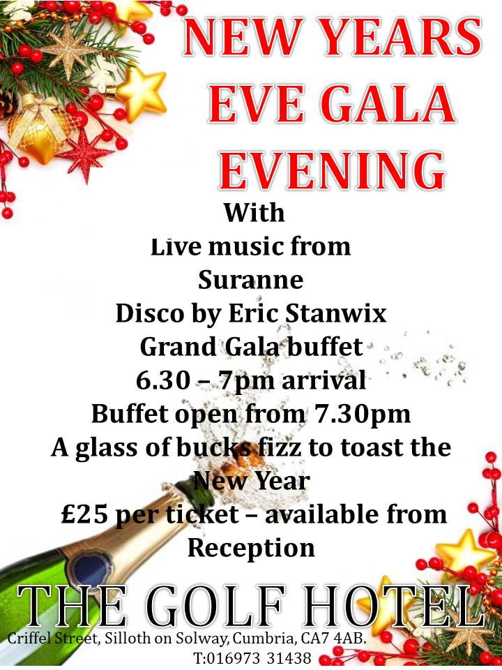 NEW YEARS EVE GALA EVENING Poster - Golf Hotel Silloth